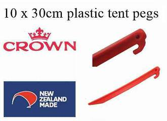 "10 pkt of Plastic 30cm ""Crown"" tent pegs - N Z made - $22.95 ea."