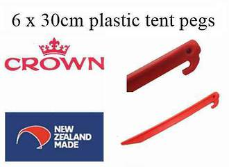 """6 pkt of Plastic 30cm """"Crown"""" tent pegs - N Z made - $15.95 ea."""