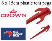 "6 pkt of 15cm ""Crown"" plastic tent pegs - $7.99 ea."