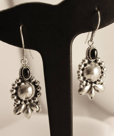 Longer length, hook style, silver onyx earrings
