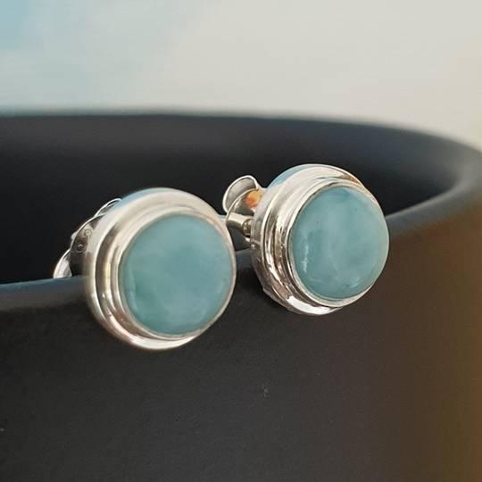 Cute little round larimar gemstone stud earrings