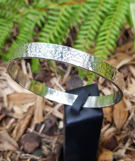 Sterling silver hammered bangle, made in NZ