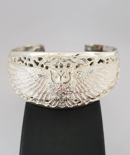 Silver filigree owl bangle