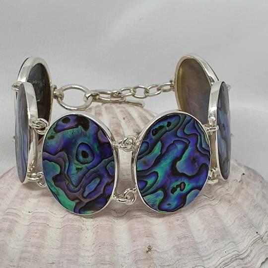 Sterling silver paua shell bracelet