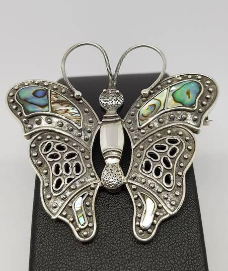 Sterling silver paua shell butterfly pendant/brooch