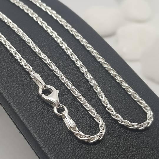 Fabulous long sterling silver wheat chain, 60cms long