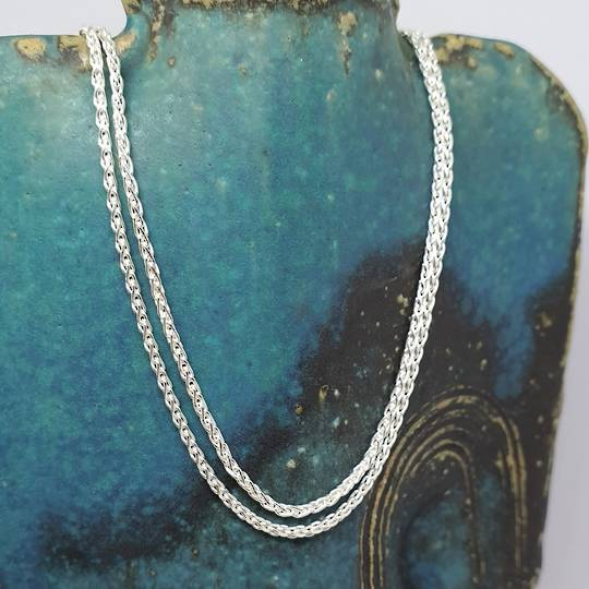 Fabulous long length sterling silver wheat chain, 70cms long