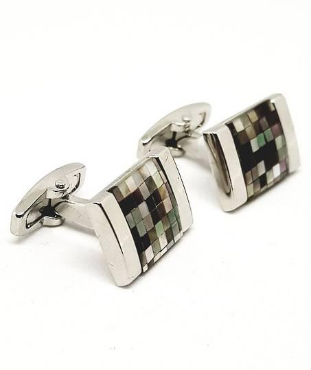 Paua shell checkerboard cufflinks