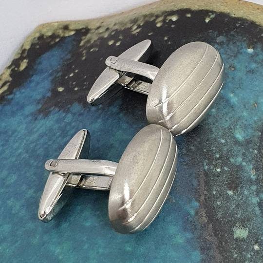Rhodium plated oval silver tone cufflinks