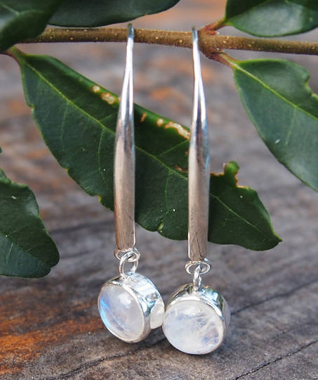Long, elegant, silver moonstone earrings