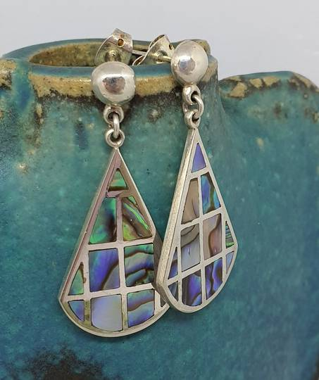 Paua shell earrings soft triangle shape
