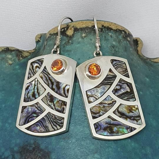 Large rectangle paua shell earrings with gemstone