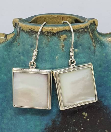 Mother of pearl square earrings - sterling silver