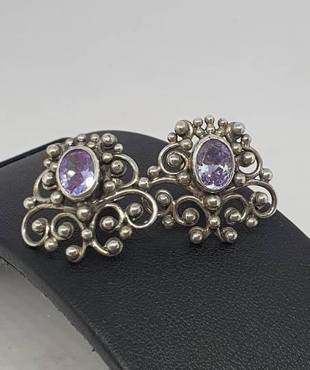 Sterling silver filigree amethyst stud earrings - one pair