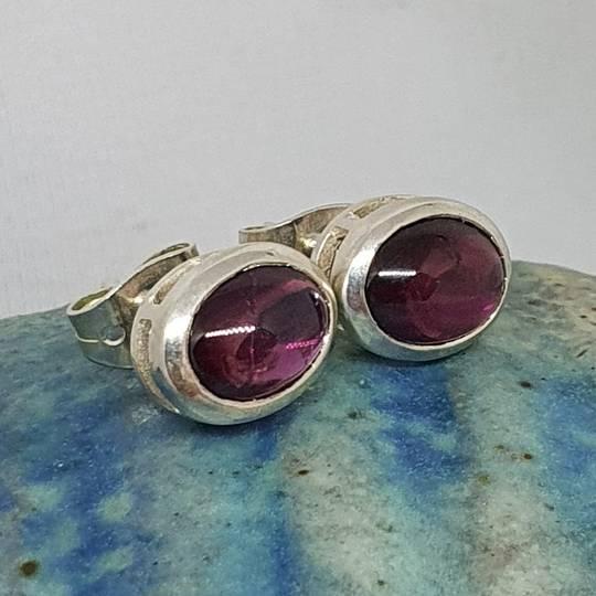 Natural amethyst sterling silver stud earrings