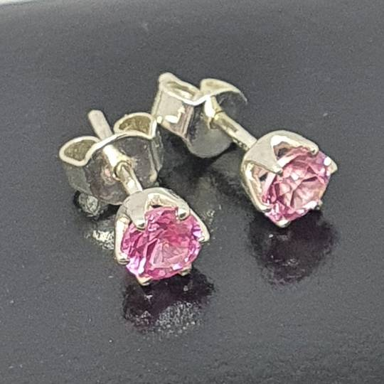 Sterling silver pink gemstone stud earrings
