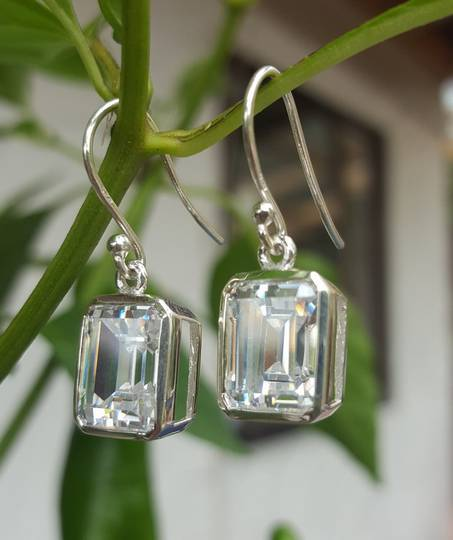 Rectangle cut cubic zirconia sterling silver earrings