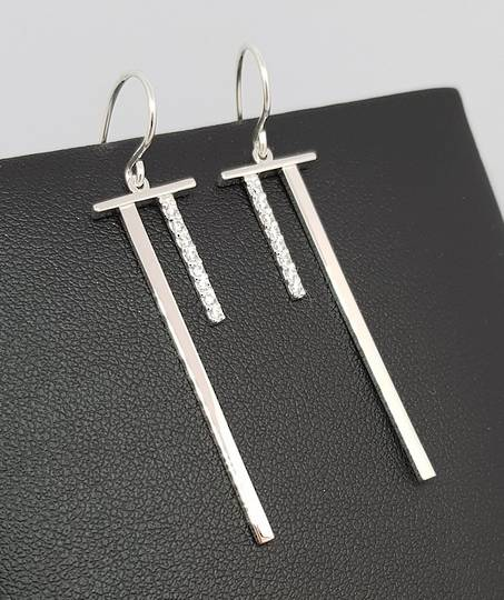 Elegant sterling silver long stem earrings with cz gems