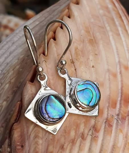 NZ Paua Shell Silver Earrings