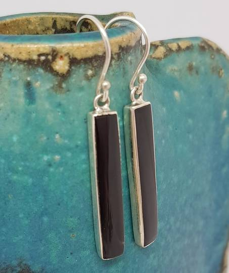 Black shell silver earrings - free delivery
