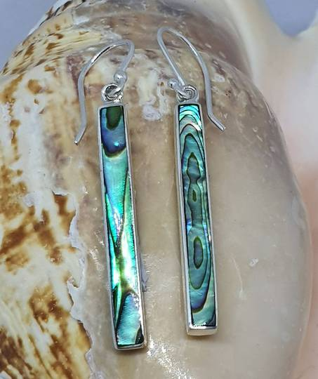 Sterling silver narrow paua shell hook earrings