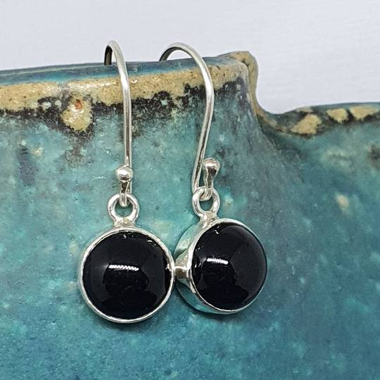 Round sterling silver onyx hook earrings