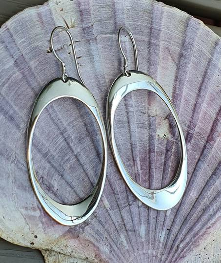 Sterling silver hooked hoop earrings