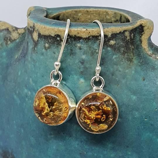 Silver amber earringsd