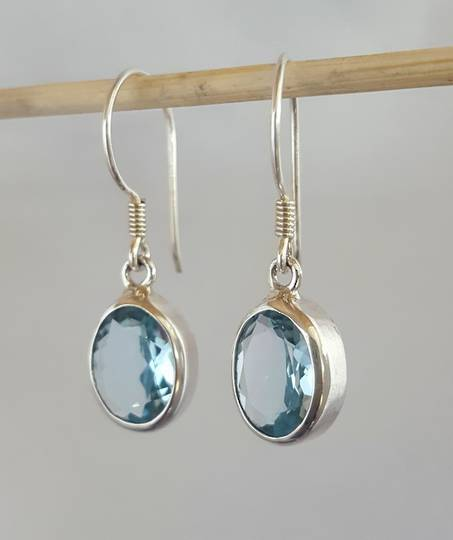 Beautiful blue topaz silver earrings