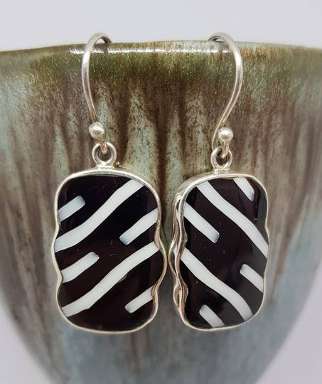 Black and white rectangle silver earrings
