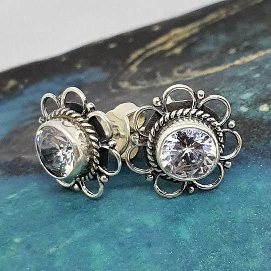 Stunning cubic zirconia flower stud earrings
