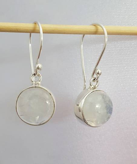 Round silver moonstone earrings
