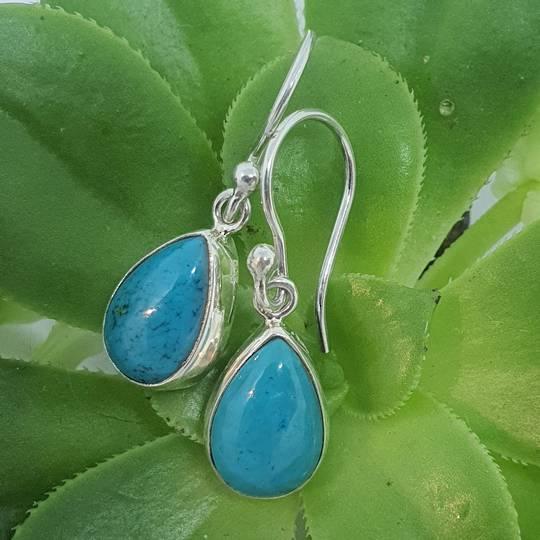 Silver turquoise teardrop earrings