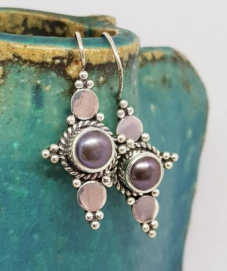Long hook silver blue grey pearl earrings