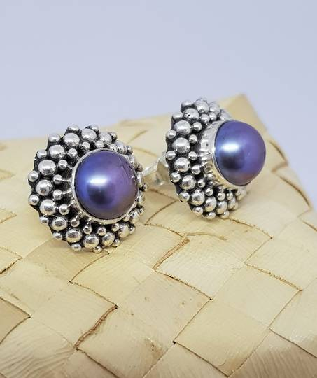 Blue/gray pearl earrings, sterling silver