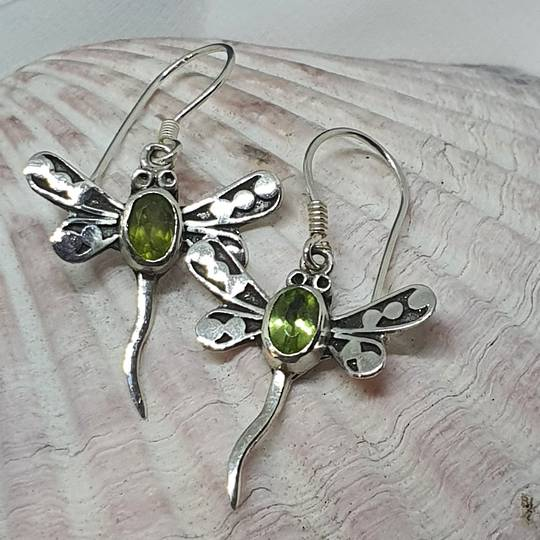 Silver peridot dragonfly earrings