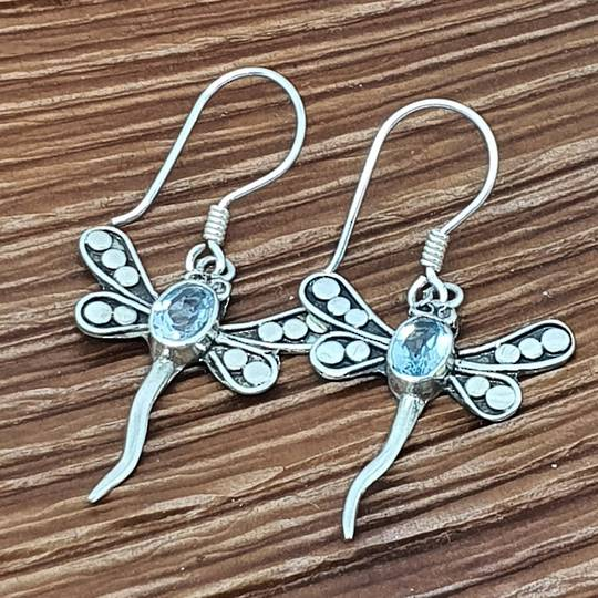 Silver blue topaz dragonfly earrings