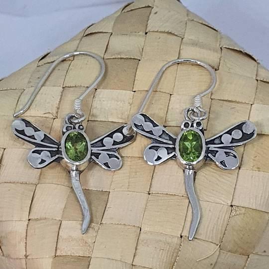 Silver peridot dragonfly earrings