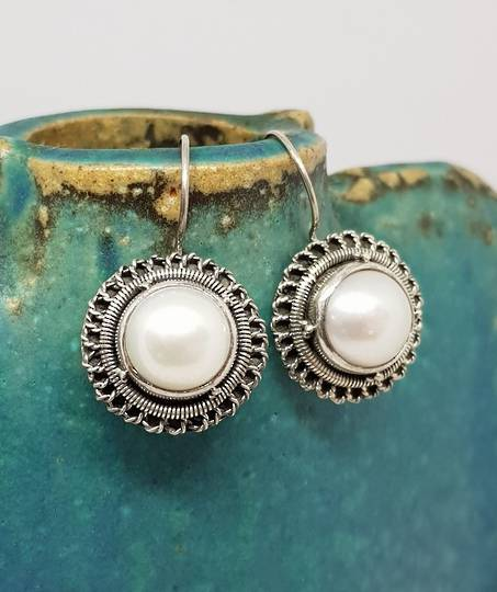 Sterling silver large fresh water pearl earrings