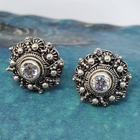 Detailed filigree cubic zirconia (c/z) stud earrings