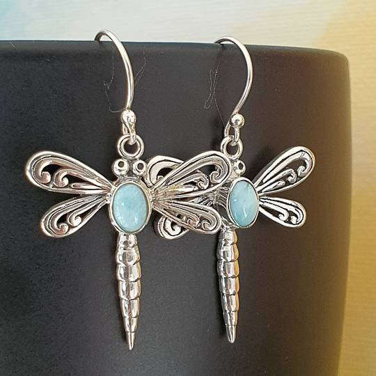 Silver dragonfly earrings with larimar gemstone