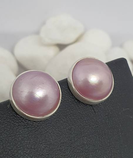 Sterling silver pink pearl stud earrings
