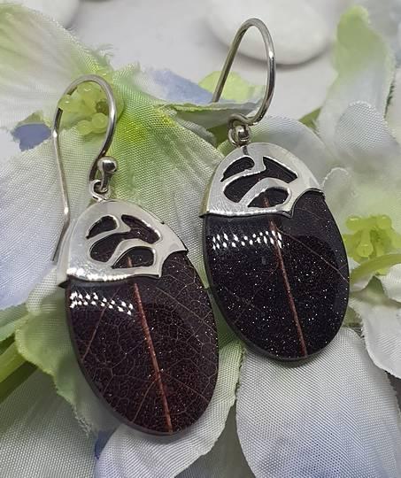 Aubergine/Purple skeleton leaf silver earrings