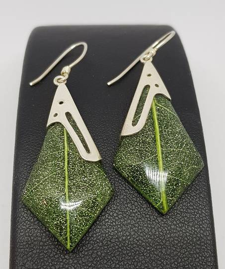 Green skeleton leaf silver earrings
