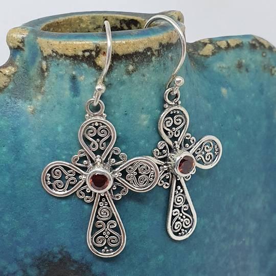 Silver filigree cross earrings with garnet