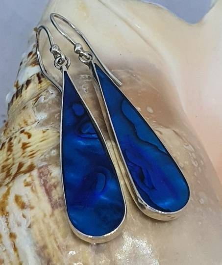 Sterling silver blue NZ paua earrings
