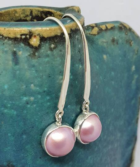 Sterling silver elegant long pink pearl hook earrings