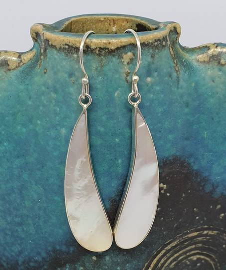 Mother of pearl silver long drop earrings