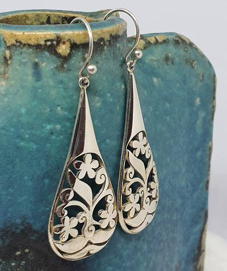 Sterling silver carved earrings