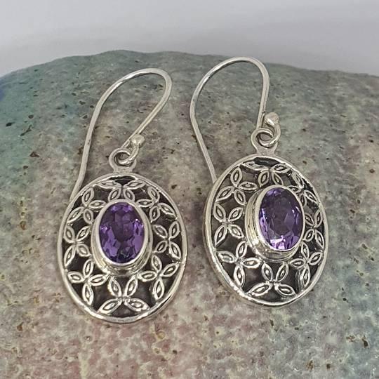 Silver purple gemstone earrings